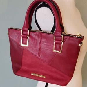 Steve Madden Red Leather and Suede Satchel
